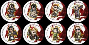 Dragon Age 2 Chibi Badges by RedPawDesigns