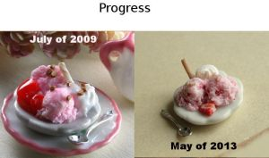 Strawberry Ice Cream Progress by fairchildart