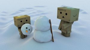 Danbo meets Snowman by zerons