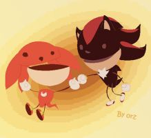 Knuckles and Shadow by orziloveKTE
