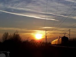 Railjet in sunset - Gyor by morpheus880223