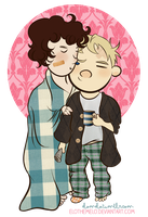 Johnlock: Sleepy Kiss by elothemelo
