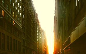 sunset in new york city by kelsskuddah