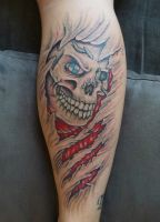 Skull with BMW logo tattoo by D3adFrog