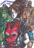 Claire Redfield along with Mr. X and William by Skenberg