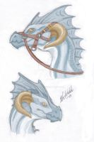 Blue dragon with bridle by Pushdug