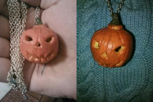 Jack-O-Lantern necklace by ShadyDarkGirl