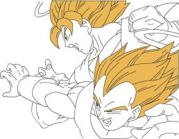 SSJ Goku and Vegeta by Mifang
