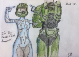Cortana and Chief by imthinkinarby