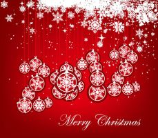 Christmas-Balls-with-Snowflake-Background by vectorbackgrounds