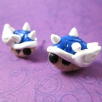 Mario blue shell earrings by TrenoNights