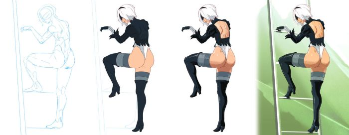 Nier Fanart Step by Step by rounindx
