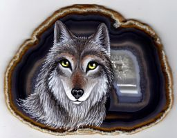 Wolf on Agate 2 by Nevuela