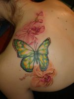 Orchids and butterfly tattoo by captainmonkeypants
