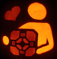Companion Cube Love Pumpkin by johwee