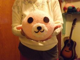 Large Pink Amigurumi Mamegoma by lovechairmanmeow