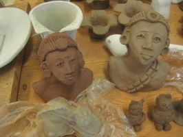 Female African head-figures by Linni89
