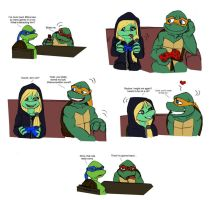 Mikey smitten TMNT by Lily-pily