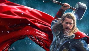 Thor Digital Portrait by Katay
