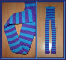 Ribbed stripe leggings, turquoise and purple by KnitLizzy