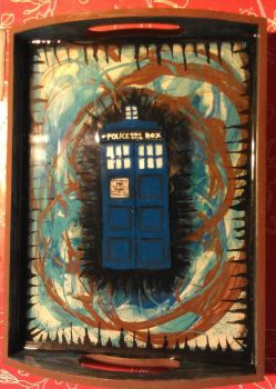 Tardis tray with 3D handpainted/clay Tardis by WhimsicallyObsessed