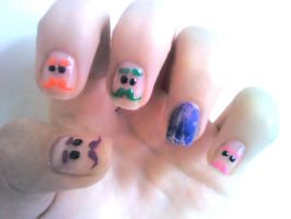 Mini Ben - Moshi Monsters Nail Design by Experimently-Bernsie