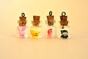 Bottled Piglet, Pooh, Pinkie Pie, Batman by wibblequibble