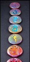 Chakra Amulet - Rune Set - Polymer Clay by andromeda