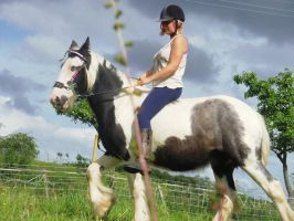 Riding the Blue Eyed Gypsy Vanner by StarCrossedPsycho