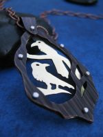 2 Ravens Riveted Necklace by AbandonedMemory