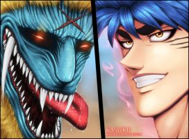 Toriko VS Gaoh by Kasukiii