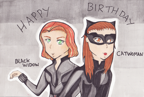 BlackWidow and CatWoman Birthday Card by EmailinasBrother