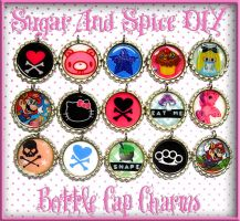 Kawaii Punk Bottle Cap Charms by SugarAndSpiceDIY