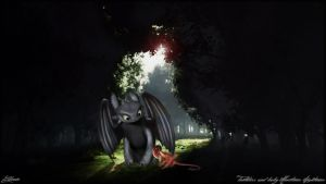 Toothless and baby Monstrous Nightmare by edewin