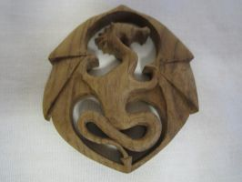 Brazilian Walnut carved Dragon Pendant by DMSscroller