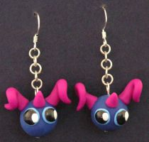 Purple Horned Monster Earrings by lavadragon
