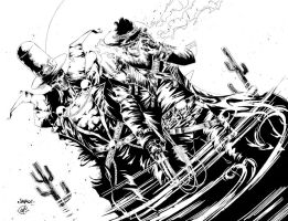 Inked Gunslinger Spawn and Western Ghostrider by Raz-Xion