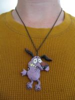 Courage the Cowardly Dog necklace by TheArtsA-Z