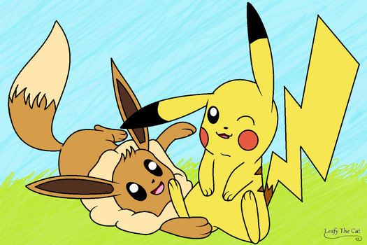 Pikachu and Eevee by LeafyTheCat