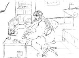 BBW Gamer Girl by dwarfpriest