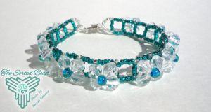 Beaded Bracelet, Right Angle Weave, Clear and Teal by TheSortedBead