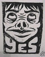 YES linoleum block print by AFlatEarth