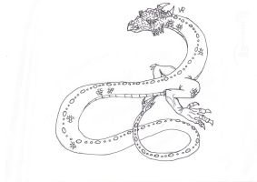 Asian Snake Dragon Lineart by SvalaW