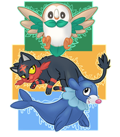Pokemon Sun/Moon Starters by Klumpeh