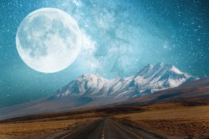 Moon and Mountains Background Horizontal FGM by FairieGoodMother
