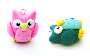 Colorful Owl Charms by SeaOfCreations