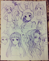 Adventure Time Pen Sketches by oceantann
