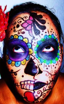Dia de los Muertos make-up finished by GrimMercy