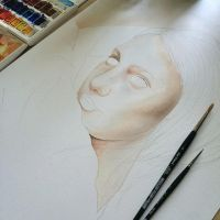 A beginning of a new watercolor. by AirelavArt