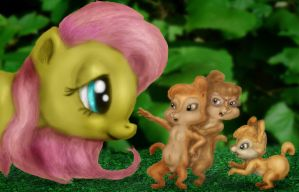 The Chipettes meet Fluttershy by ElFunnimal